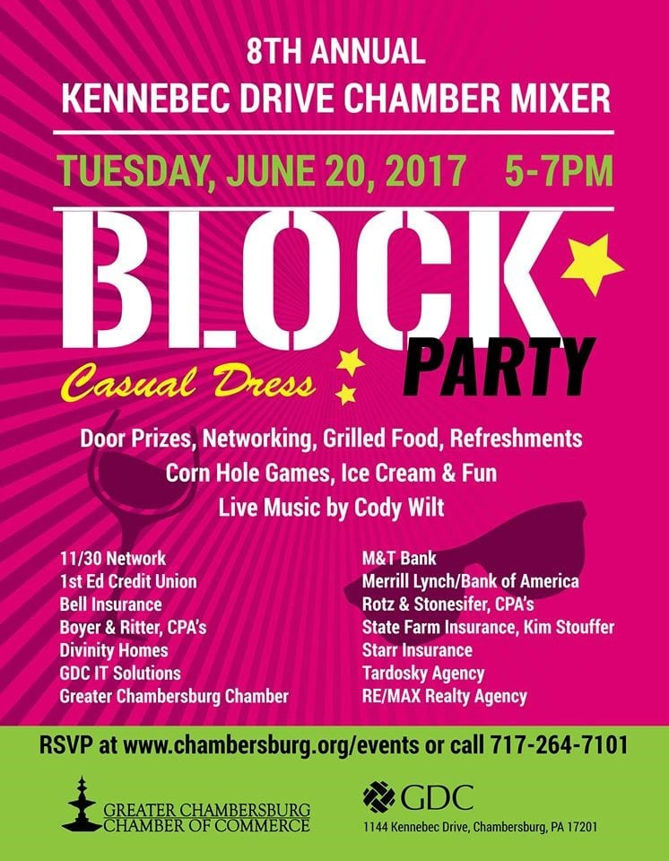 2017 Kennebec Drive Chamber Mixer and Block Party Poster