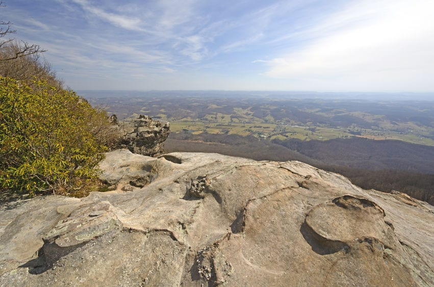 View from the Whites Rocks on a Sunny Day in Cumberland Gap National Park in Virginia