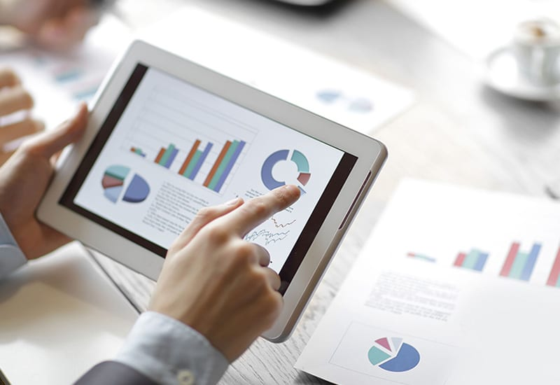 Tablet Businessman Data Visualization Pointing