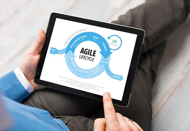 Agile Project Management Diagram on Tablet