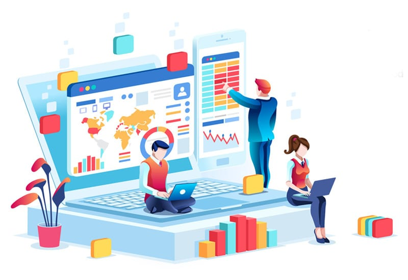 Business Intelligence Analytics Dashboard Illustration