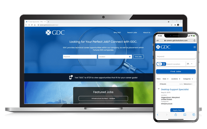 Career Portal Desktop and Mobile Views