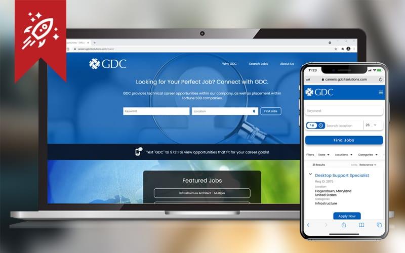 GDC Careers Portal Launch Desktop and Mobile Screens