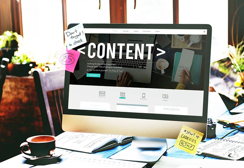 Content Management System Website on Monitor