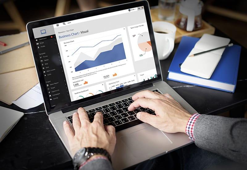 Businessman Working Laptop Dashboard Data Visualization Graphs Charts