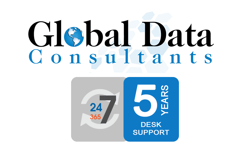 Global Data Logo and 5 Years of Desk Support Icon