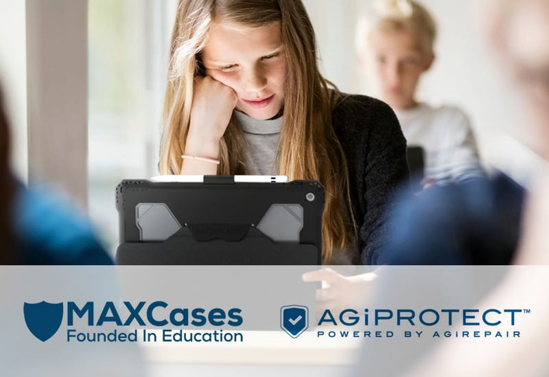 Female Student using Tablet with MaxCase and Unlimited Protection with Agi Protect