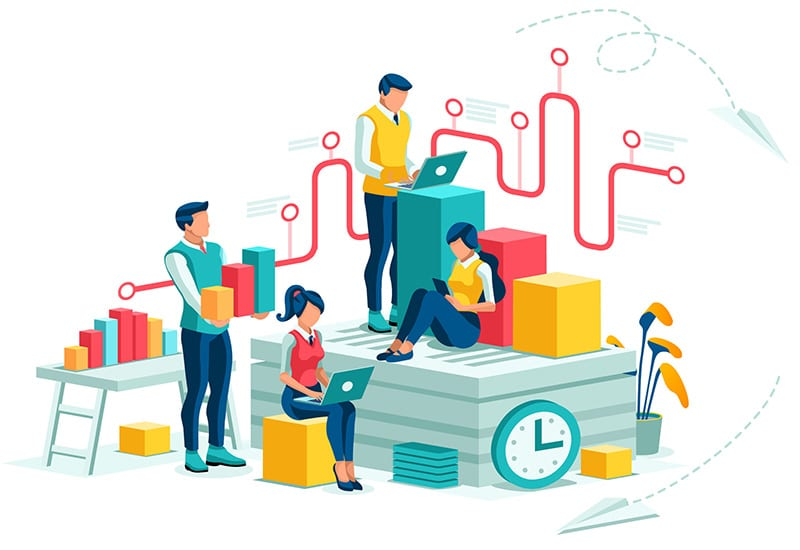 Project management and approach illustration
