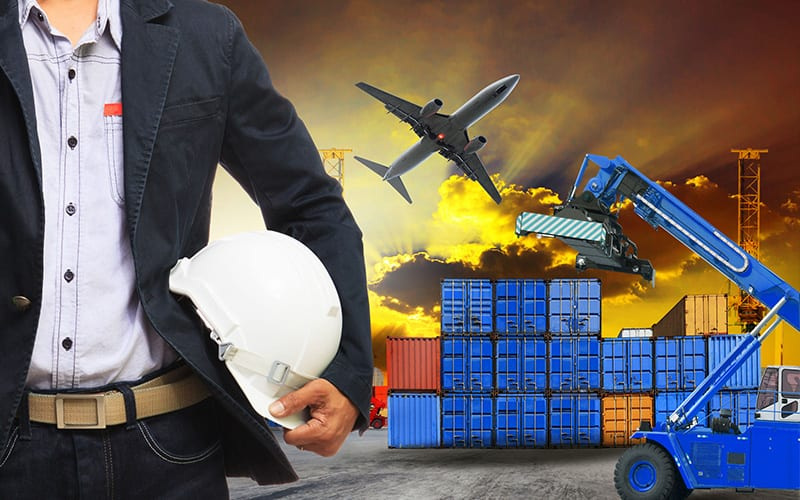 Transportation Composition Businessman with Hard Hat Storage Containers Lift Airplane Trucks