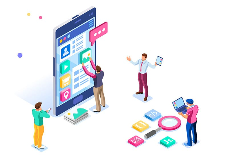 Website and mobile app development illustration